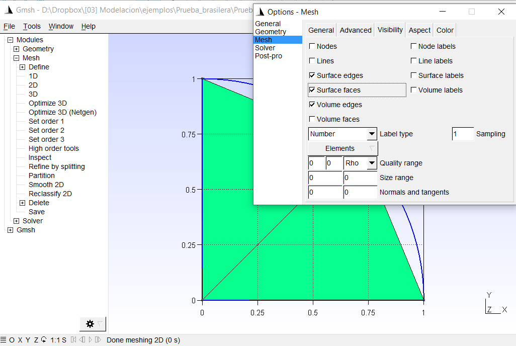 Geometry in Gmsh and solution with SolidsPy — SolidsPy 1 0